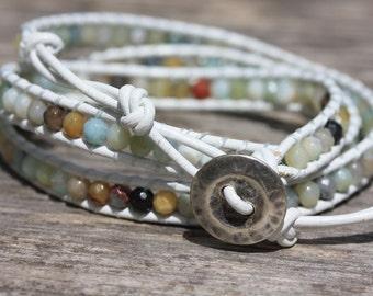White Leather Triple Wrap Boho Amazonite Bracelet