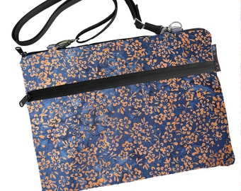 11 inch MacBook Air Sleeve Case / Bag / Shoulder Bag Zipper Padded /FAST SHIPPING/Washable/ New Blue Batik Fabric