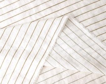 Japanese fabric striped linen - coffee, ivory - 50cm