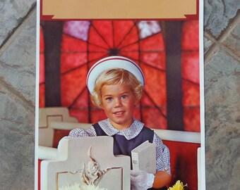 Vintage 1960's Salesman Sample Calendar Color Litho Photo Print Girl in Church