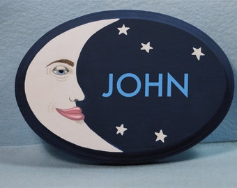 Personalized Child's Door Sign, Moon Man Sign, Baby Door Sign With Name, Moon With Stars Sign, Girl or Boy's Door Sign, Child's Room Sign
