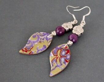 Bohemian dangle earrings. Colorful Boho jewelry. Polymer clay mokume gane amethyst leaf flower beads Lightweight lime lavender red
