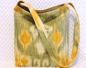 Ikat Shoulder Bag - Ikat Handbag - Gray and Yellow Fabric - Hobo Bag Purse - Ikat Purse - Ladies Boho Ikat Medium Purse - Handmade Purse