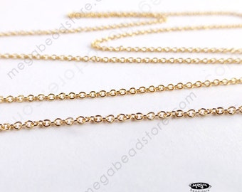 50 feet Danty 1.1mm 14K Gold Filled Loose Chain Cable Ring Link CH78