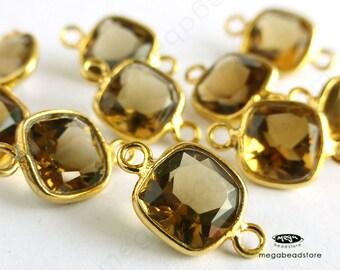 2 pcs 7mm Honey Citrine Natural Quartz Princess Cut Gold Bezel Pendant F400