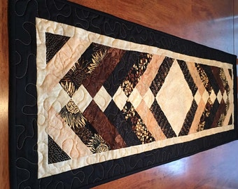 Quilted Table Runner - 17 inches x 50 inches - French Braid, Earthtones, Quiltsy Handmade