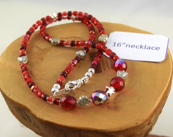 16 inch Cherry Bomb red Czech crystal and seed bead choker necklace