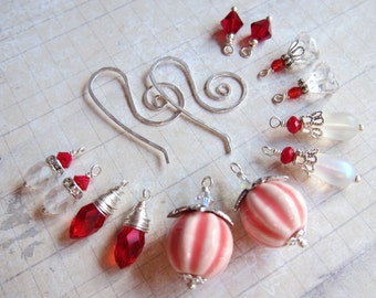 Sihaya Designs Earring Wardrobe - Peppermint Swirl - Christmas and Winter Holiday Snowflake Mix and Match Earring Set