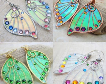 Design Your Own Faery Wing Earrings - Custom Fairy Wing Jewelry - Pick Your Colors
