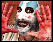 "Print 8x10"" - Captain Spaulding- Clowns Horror Sid Haig Dark Art Scary Creepy Rob Zombie Corpse Devils Rejects Pop Art Gothic Lowbrow Beard"