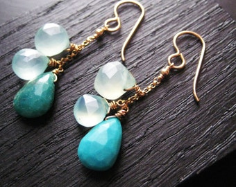 Turquoise and Chalcedony Cluster Earrings