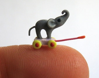 Miniature  1/4 scale Elephant Pull Toy OOAK by C. Rohal