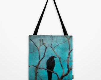 Crow Full Image Design, Nature Tote, Grocery Bag, Bird Art, Everyday Carry-All, Art Accessory - Aqua Zen Tote