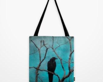 Crow Full Image Design, Nature Tote, Grocery Bag, Bird Art, Everyday Carry-All, Art Accessory - Aqua Zen Tote