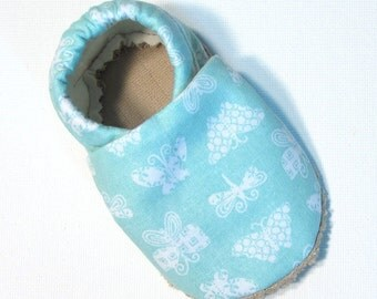 Aqua Butterfly Soft Soled Baby Shoes 12-18 mo