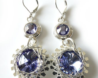Tanzanite Silver Earrings, Wire Wrapped Industrial Gears, Swarovski Rivoli Crystals, Deep Blue Purple, Beaded Jewelry, Beaded Earrings,
