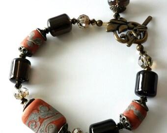 Lampwork Bracelet Terra Cotta, Smoky Quartz Gemstones, Antique brass, Earth tones, Leaf Toggle, Crystals, Beaded Jewelry, Lampwork Jewelry