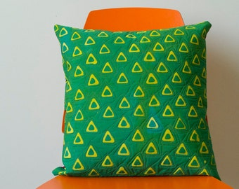 Triangle Tribe Hand Dyed and Patterned Pillow Cover