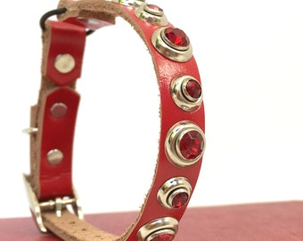 Red Leather Cat Collar with Red Crystal Rivets, Eco-Friendly, Size to fit a 8-10in Neck, OOAK