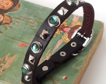 Dark Chocolate Brown Leather Cat Collar with Mint Gems, Size to fit a 8-10in Neck, EcoFriendly Leather, Handmade in USA