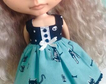 Dress for Blythe - Skeleton Kitties #2 - Halloween