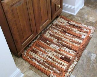 Bathroom Rug - Rectangular Rag Rug - Indoor Outdoor Rag Rug - Handmade Rag Rug - Wedding Gift - Repurposed Rag Rug - Cotton Rag Rug -Brown