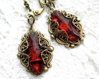 Dark Ruby Rose Vintage Glass Jewel Earrings - Antiqued Brass Victorian Style Earrings