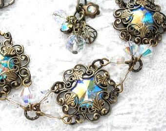 Victorian Style Swarovski Rivoli Crystal Aurora Borealis Bracelet Antiqued Brass Filigree Bracelet