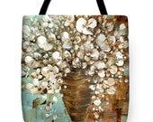 Designer Art Tote Bag - abstract white blossom flowers bouquet print, floral designer fashion statement tote from Susanna's art