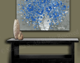 Canvas PRINT Modern Blue Flowers floral still life flower abstract art from painting Grey & Blue, impressionist bouquet wall art -susanna