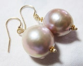 2 MONTHS SALE 20% Code:SALE2016 Natural AAAA Japan Kasumi Pearl Smooth Light Pink, and 14K/18K Solid Yellow Gold Earrings