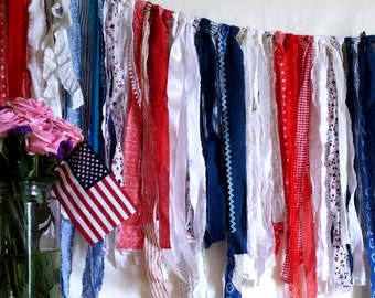 red white and blue fabric strip bunting, eco friendly, patriotic homecoming celebration garland, photo prop, rag tie scrappy banner, 65 inch