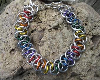 Rainbow Shenanigan Weave Chainmaille Bracelet CB100