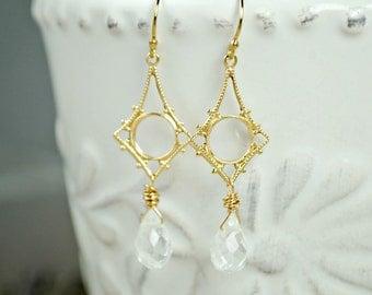 Chandelier Earrings, Gold Dangle Earrings, Quartz Earrings, Elegant Bridal Earrings, Filigree Chandelier Earrings, Faceted Quartz Jewelry