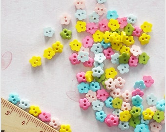 100 pcs 6 mm Tiny Flower Flat Buttons Mixed Color Doll / Scrapbooking Supply