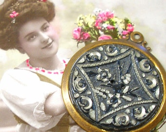 1800s Antique BUTTON pendant, Victorian floral design in brass.