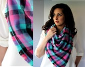 Over Sized Blanket Scarves - Soft Plaid - Over Sized Plaid Blanket Scarf - Fall Fashion - Blue Pink Gray Buffalo Plaid - 100% Flannel