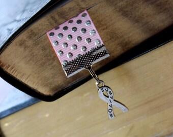 Breast Cancer Survivor Ribbon Book Mark - Pink Ribbon Book Mark with Survivor Silver Charm - Book Accessory - Gift Guide - Teacher Gift