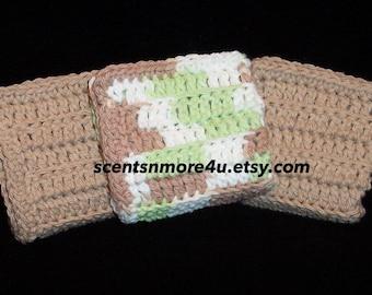 Crochet Dishcloths/Washcloths, tan, white, & green blend
