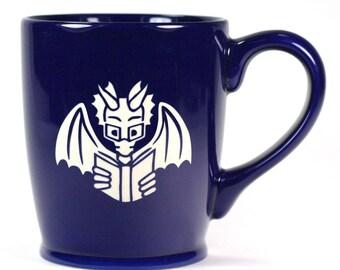 Book Dragon Mug - Navy Blue - microwave/dishwasher safe - cute reading coffee cup