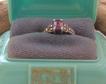 Vintage Silver Amethyst and Crystal Ring Size 7.5  (3.4g)