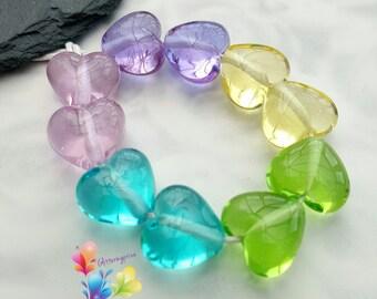 Lampwork Beads Rainbow Hearts