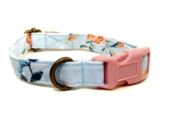 High Street - Organic Cotton CAT Collar Breakaway Safety - Light Blue Vintage Floral - All Antique Brass Hardware