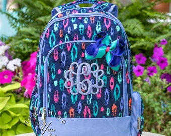 Gift Set of 2 - Monogrammed Backpack and Hairbow in Laney Leopard Pattern, Girls School Bookbag Set, Personalized Girls School Bag