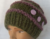 Purple Sage Chunky Knit Hat Buttons