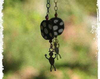 Halloween Earrings Dangle, Black Earrings, Goth, Little Happy Spirit Earrings, Southwestern, Bohemian Tribal Earrings, Boho Jewelry