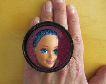 Vintage Blue - upcycled Barbie doll adjustable ring