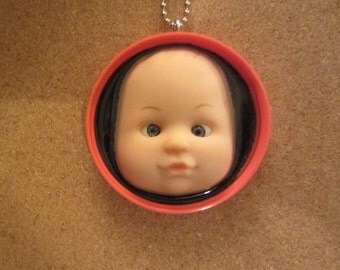 Crazy Cross Eyed Upcycled Doll Pendant- Red