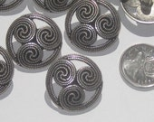 CELTIC Design Set 9 Vtg New Antiqued SILVER Metal fancy buttons 28.5mm / 1&1/8""