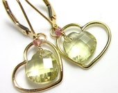 4th SALE Lemon Love Earrings - Lemon Quartz, Pink Sapphire in 14k Gold-Fill Hearts